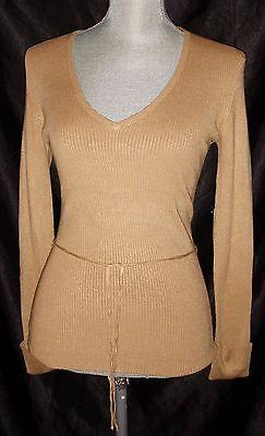 BCBG Max Azria Women's V Neck Sweater Size Small Toast Tan Pullover NWT