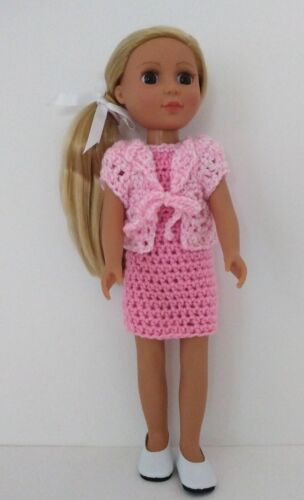 """Crocheted Pink Dress & Sweater fits 14 inch Wellie Wisher Doll or other 14"""" Doll"""