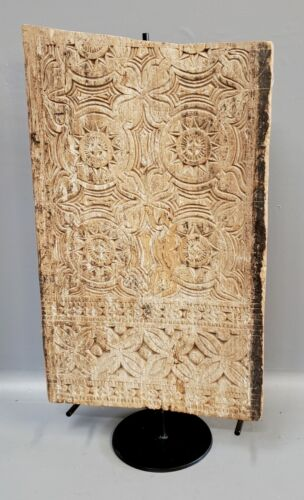 Vintage Toraja, Sulawesi House Panel Architectural Carving on Metal Stand