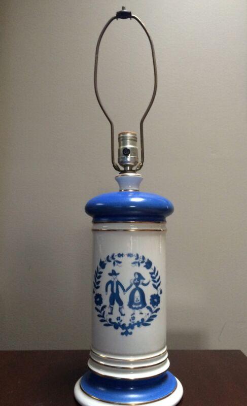 Vintage Large Pennsylvania Dutch Lamp, Amish, Blue And White, couple