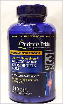 Puritan's Double Strength Glucosamine Chondroitin MSM 240 Caps New Free Shipping