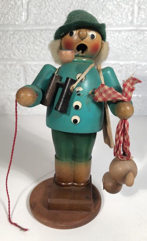 Vintage Wooden Hunter Rabbit Smoker Incense Burner ERZGEBIRGE Germany