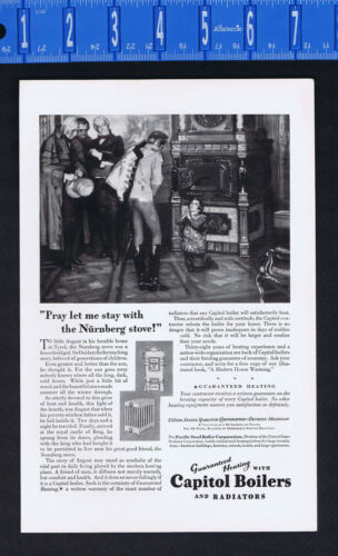 CAPITOL BOILERS & RADIATORS - Tyrol Nurnberg Stove Fable - 1928 PRINT AD