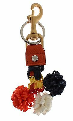 NWT $360 DOLCE & GABBANA Multicolor Raffia Leather Clasp Finder Chain Keyring