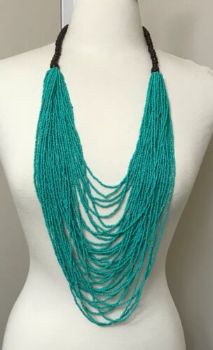 Stunning Multi Strand Turquoise Seed Beads Long Necklace