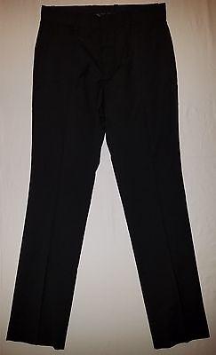 H&M BLACK REGULAR FIT PLAIN FRONT POLY BLEND PANTS / TROUSERS SIZE 31 X 31