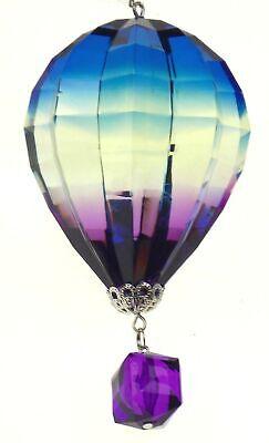 Ganz Hot Air Balloon Ornament Blue White Purple Crystal Expressions Minor Defect Crystal Hot Air Balloon