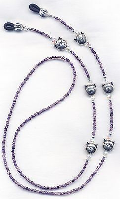 Silver CATS on PURPLE Eyeglass~Glasses Holder Necklace Leash Chain CUSTOM LENGTH
