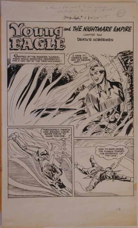 ARTHUR PEDDY original art, YOUNG EAGLE #6, pgs 13-20, 1951,8 pgs, Indian,US Army