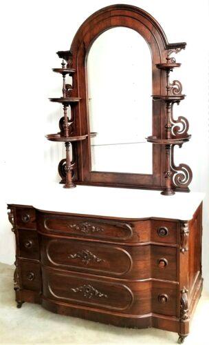 Dresser, rosewood, marble, curio mirror, Mallard, c1850 Rococo Victorian,