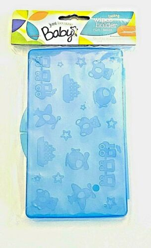 Train Boat Bear Helicopter Stars Baby Wipes Holder Case Travel Portable Blue