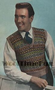 Vintage Knitting Pattern Men's Fair Isle Tank Top/Pullover. 38-42 Inch Chest.
