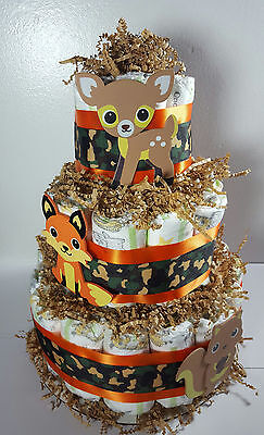 Woodland Baby Theme (3 Tier Diaper Cake Woodland Theme Orange/Camo - Neutral Baby Shower)