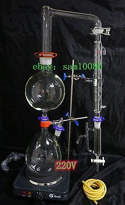 Essential oil steam distillation apparatus kit ,220Vor110V, Allihn Condenser lab