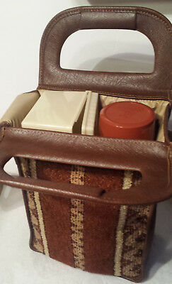 Thermos Tailgate Picnic Set Upholstered Tote Bag Vintage 1960-70 King Seeley