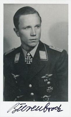 Franz-Josef Beerenbrock signed photo. Luftwaffe Ace.KC winner. WWII. 117 kills !