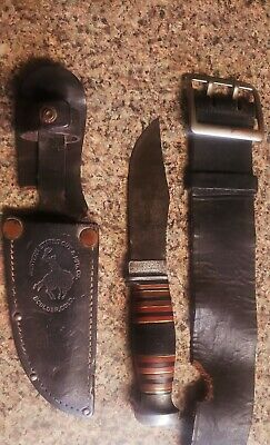 Western States Cut & Mfg Boulder Colorado USA Fighting knife, Sheath and Belt