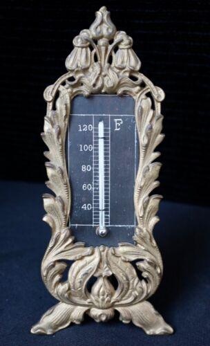 Fantastic All Original Antique Victorian Era Bronze Brass Floral Thermometer