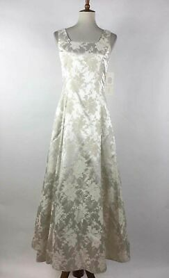 Scott McClintock Natural Gold Metallic Floral Jacquard Sleeveless A-Line Gown 6