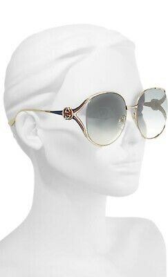 Gucci Open Temple Sunglasses in Gold/Grey GG0225S- NEW WITH TAGS!
