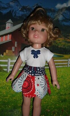 Red, White & Blue Petal Skirt Outfit for 14.4