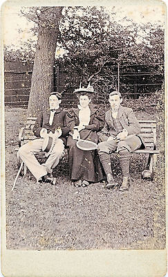 1894 CDV Willesden 3 People on Bench, Tennis Racket, Bocci Ball UK Sepia - Tennis Benches
