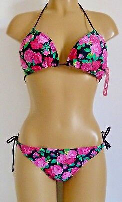 FLORAL TRIANGLE BIKINI 6 8 10 12 14 BLACK PINK PADDED HALTER NECK TOP TIE BRIEF ()