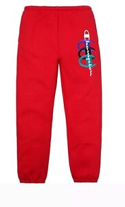 Supreme Champion Stacked C Sweatpants Red Like NEW
