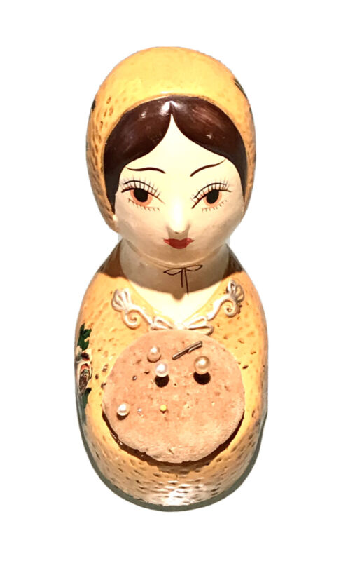 Antique Vintage Japan Hand Painted Wood Russian Doll Sewing Knitting Holder Case