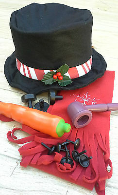 Snowman Making Kit! Felt Hat, Red Snowflake Scarf, Plastic Carrot, Pipe, Buttons - Snowman Kit