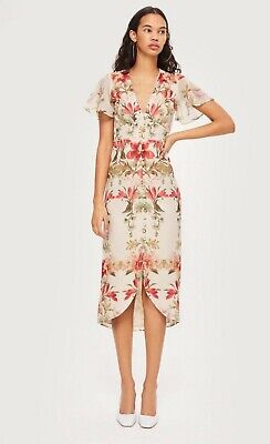 Hope And Ivy - Mirror Print Floral Fitted Pencil Dress - 10 - Asos