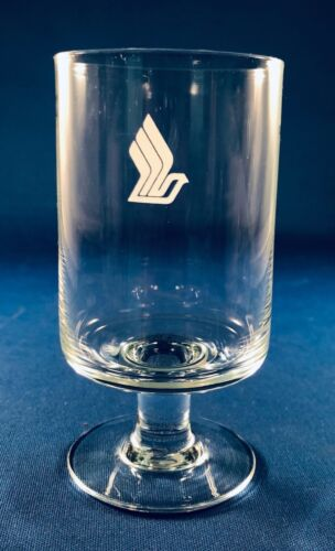 "Singapore Airlines Wine Glass - 2"" across x 4"" tall - Frosted Logo"