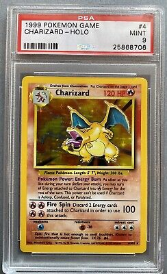 1999 Pokémon #4 Charizard - Holo - English Unlimited Base Set PSA 9 MINT