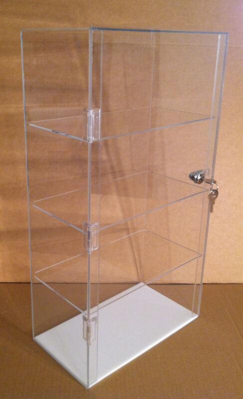 "Acrylic Counter Top Display Case 12"" x 7"" x 22.5""Locking Cabinet Showcase Box"