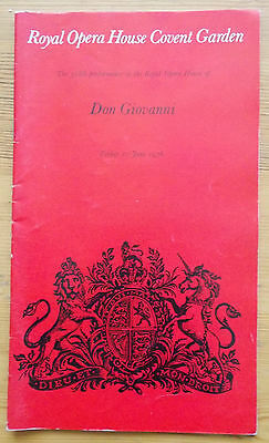 Don Giovanni programme Royal Opera House Covent Garden 11th June 1976