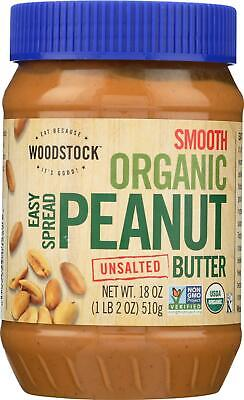 Woodstock Farms-Organic Easy Spread Peanut Butter - Smooth - Unsalted -18 -