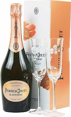 Perrier Jouet Blason Rose Champagner Geschenkset mit 2 Gläsern - 0,75 L/12 % Vol