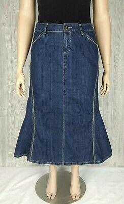 Baccini Womens Long Denim Skirt Size 12 Flare Panels Embroidery Modest Stretch Paneled Denim Skirt