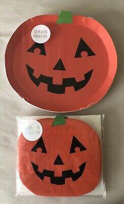 Meri Meri Halloween Pumpkins 12 Paper Plates and 20 Paper Napkins Orange
