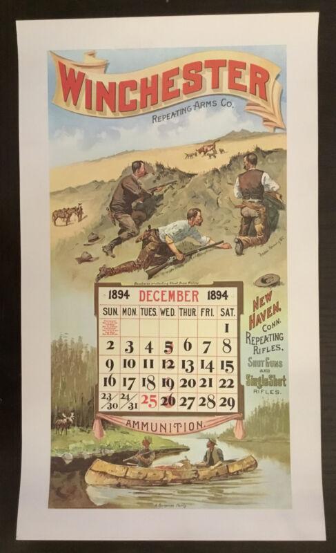 Vintage Winchester Ammunition Firearms Poster Calendar Print December 1894
