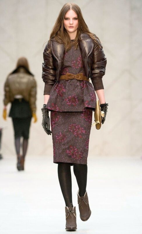 $4,995 Burberry Prorsum 2 4 36 Plongé Leather Down Bomber Jacket Coat Women Lady