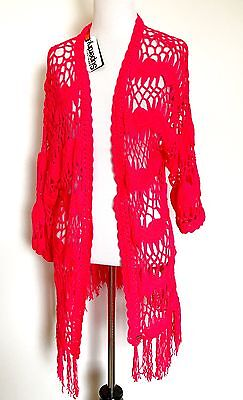 Superdry Red Crochet Cardigan / Cover Up  Size M Retail $54.50 Price $42