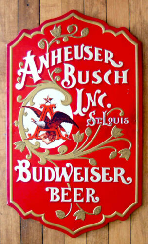 "VINTAGE 25"" METAL ANHEUSER BUSCH BUDWEISER BEER METAL SIGN MASONITE BACK 1976"