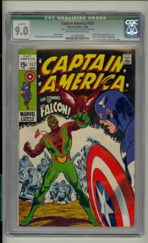 Captain America #117 CGC 9.0 (OW/W) *Qualified* 1st app. of The Falcon Marvel Co