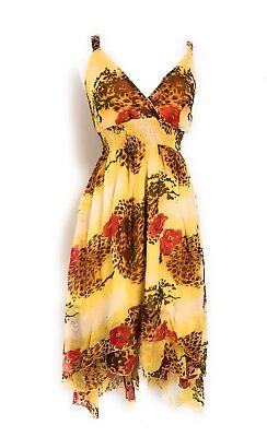Dress Less Ladies (Ladies Sleeve Less Empire Waist Smocked Tiered High Low Printed Dress NWT)