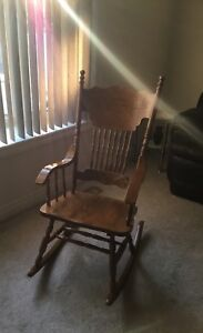 Solid oak rocking chair antique carved back - moving must go