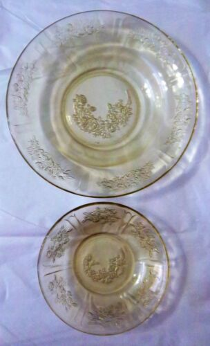 VINTAGE FEDERAL YELLOW SHARON CABBAGE ROSE DEPRESSION GLASS SERVING AND BERRY