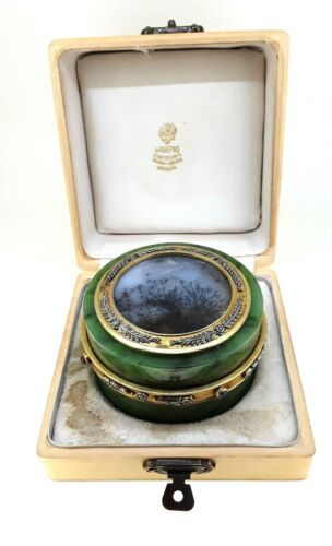 Faberge Silver Gilt ,Moss Agate ,Nephrite Jewelry Box.