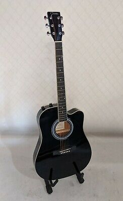 Johnson JG-650-TB Thinbody Acoustic Electric Guitar, Black