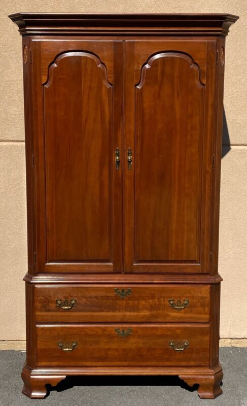 Ethan Allen Georgian Court Cherry Linen Press Armoire Cabinet **FREE SHIPPING**